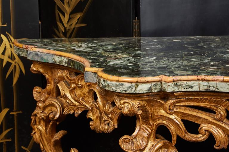 Large Mid-18th Century Italian Rococo Giltwood Green Marble-Top Console For Sale 1