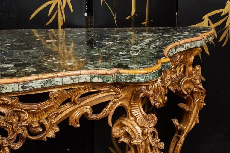 Large Mid-18th Century Italian Rococo Giltwood Green Marble-Top Console For Sale 2
