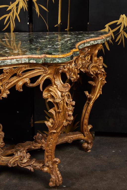 Large Mid-18th Century Italian Rococo Giltwood Green Marble-Top Console For Sale 4