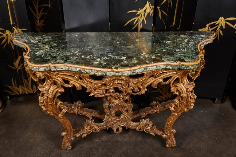 Large Mid-18th Century Italian Rococo Giltwood Green Marble-Top Console For Sale 5