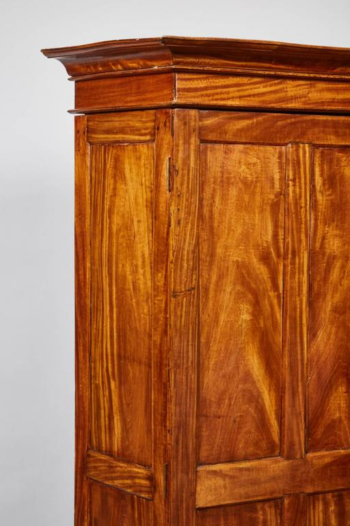 19th Century Two-Door Simple Satinwood Cabinet In Good Condition For Sale In South Pasadena, CA