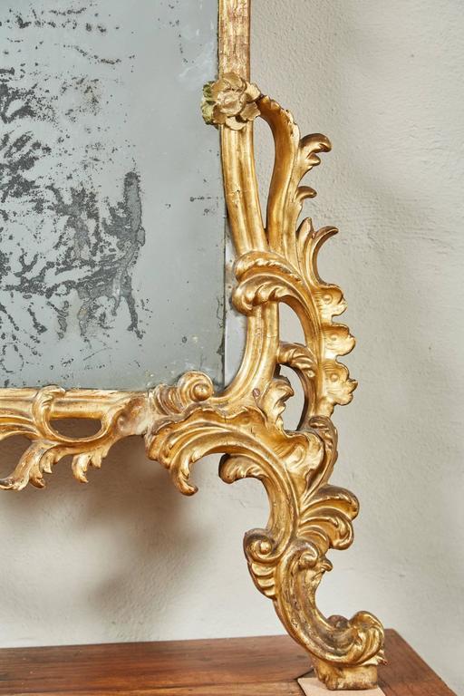 Mid-18th Century Italian Giltwood Pier Rococo Mirror For Sale 5