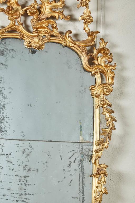 Mid-18th Century Italian Giltwood Pier Rococo Mirror For Sale 2