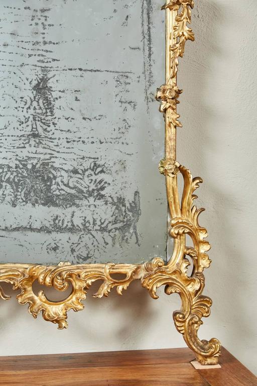 Mid-18th Century Italian Giltwood Pier Rococo Mirror For Sale 4