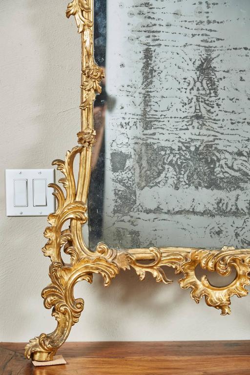 Mid-18th Century Italian Giltwood Pier Rococo Mirror For Sale 3