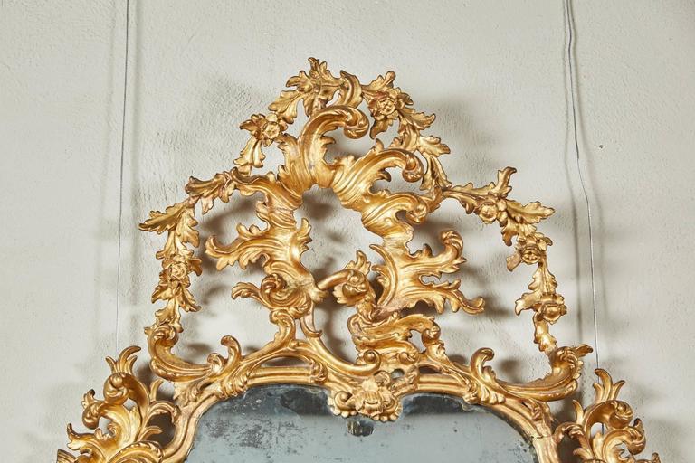 Mid-18th Century Italian Giltwood Pier Rococo Mirror For Sale 1