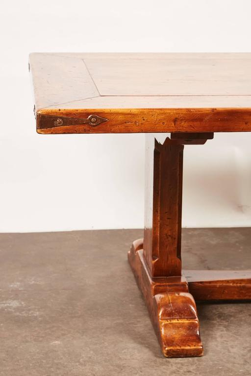 Country 20th Century, French Walnut Trestle Dining Table For Sale
