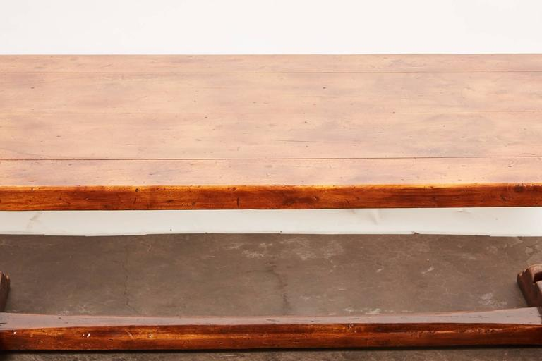 20th Century, French Walnut Trestle Dining Table In Good Condition For Sale In Pasadena, CA