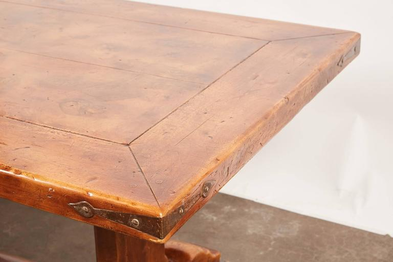 20th Century, French Walnut Trestle Dining Table For Sale 3