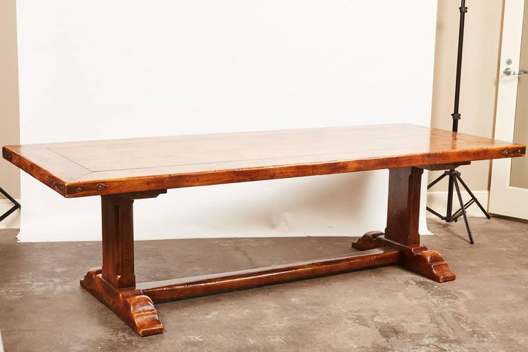 20th Century, French Walnut Trestle Dining Table For Sale 5