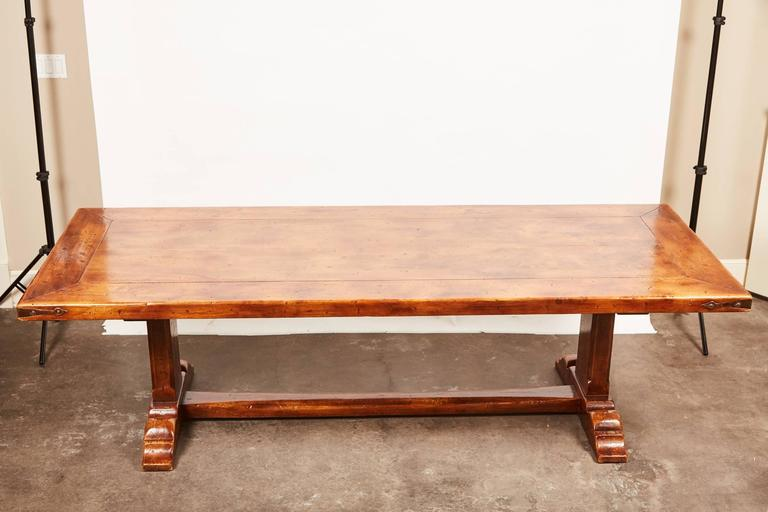 20th Century, French Walnut Trestle Dining Table For Sale 6