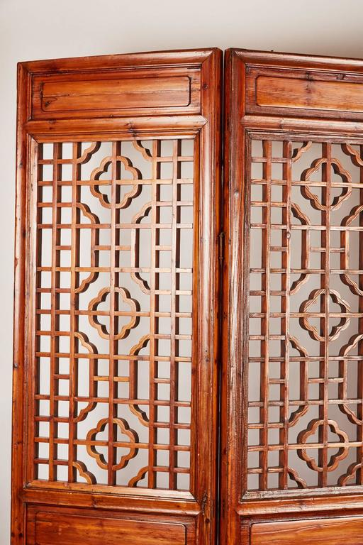 Set of 12 Brown Late 19th Century Chinese Geometrically Carved Panels In Good Condition For Sale In Pasadena, CA