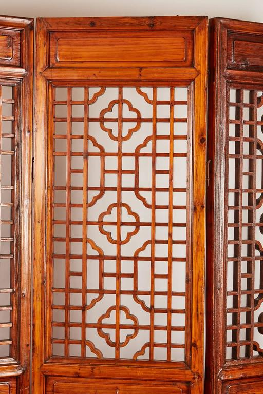 Set of 12 Brown Late 19th Century Chinese Geometrically Carved Panels For Sale 1