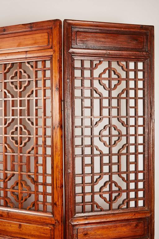 Set of 12 Brown Late 19th Century Chinese Geometrically Carved Panels For Sale 2