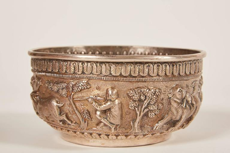 Anglo Raj Small 20th Century Indian Silver Bowl with Relief For Sale