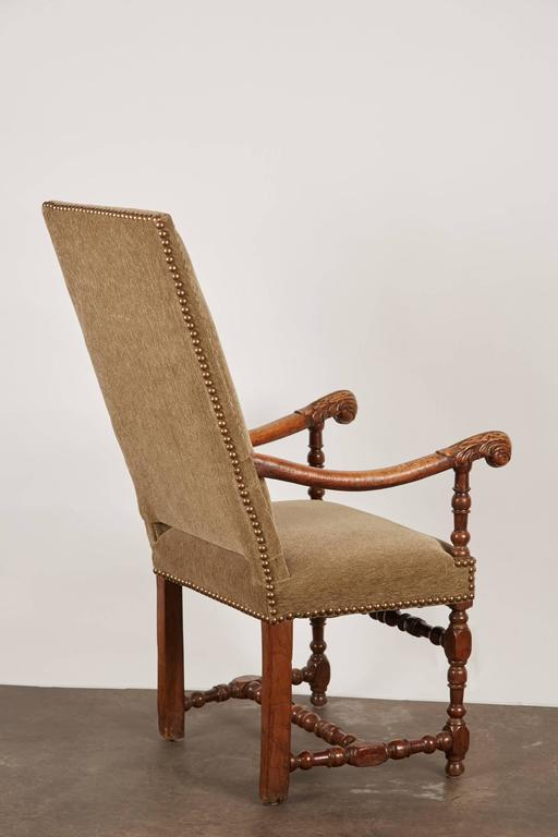 18th Century and Earlier 17th Century Louis XIII French Walnut Armchair For Sale