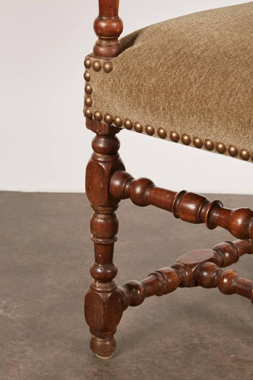 17th Century Louis XIII French Walnut Armchair For Sale 6