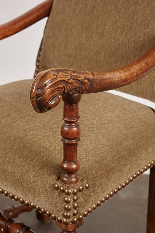 17th Century Louis XIII French Walnut Armchair For Sale 3