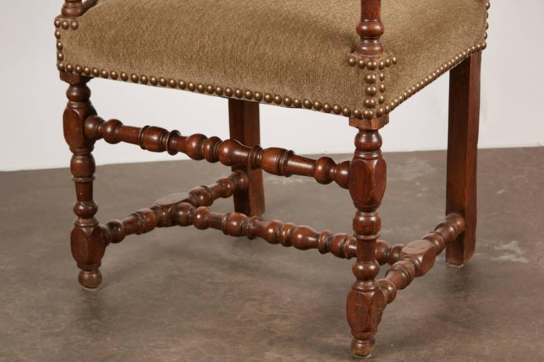 17th Century Louis XIII French Walnut Armchair For Sale 5