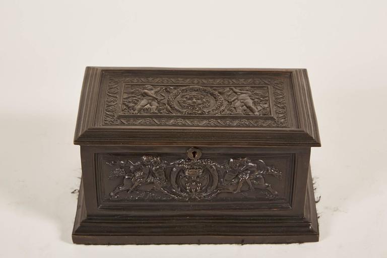 19th Century Italian Bronze Jewelry Box with Neoclassical Figures in