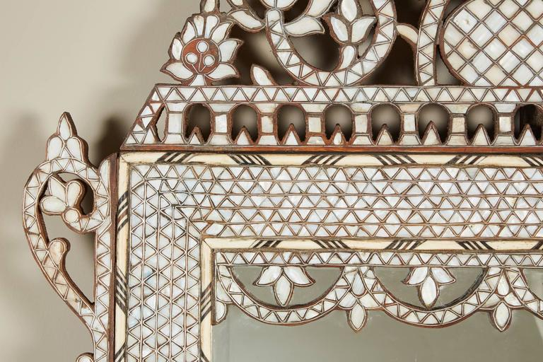 Large 20th Century Syrian Mother Of Pearl Inlaid Mirror