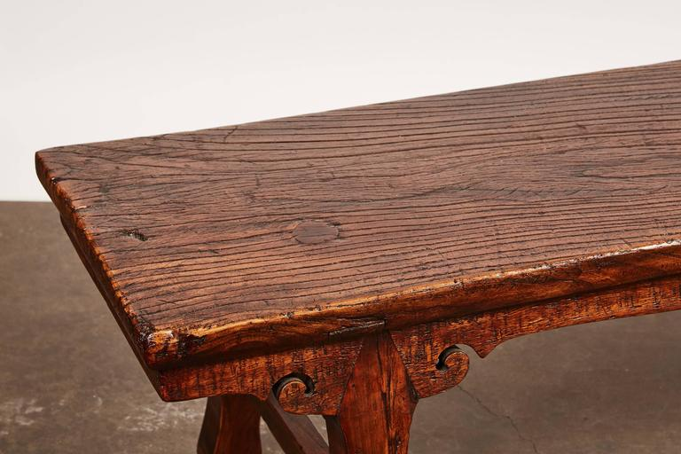18th Century Chinese Low Sword Leg Bench or Table In Good Condition For Sale In South Pasadena, CA