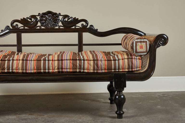 20th Century British Colonial Ebony Bench with Caned Seat and Arms For Sale 1