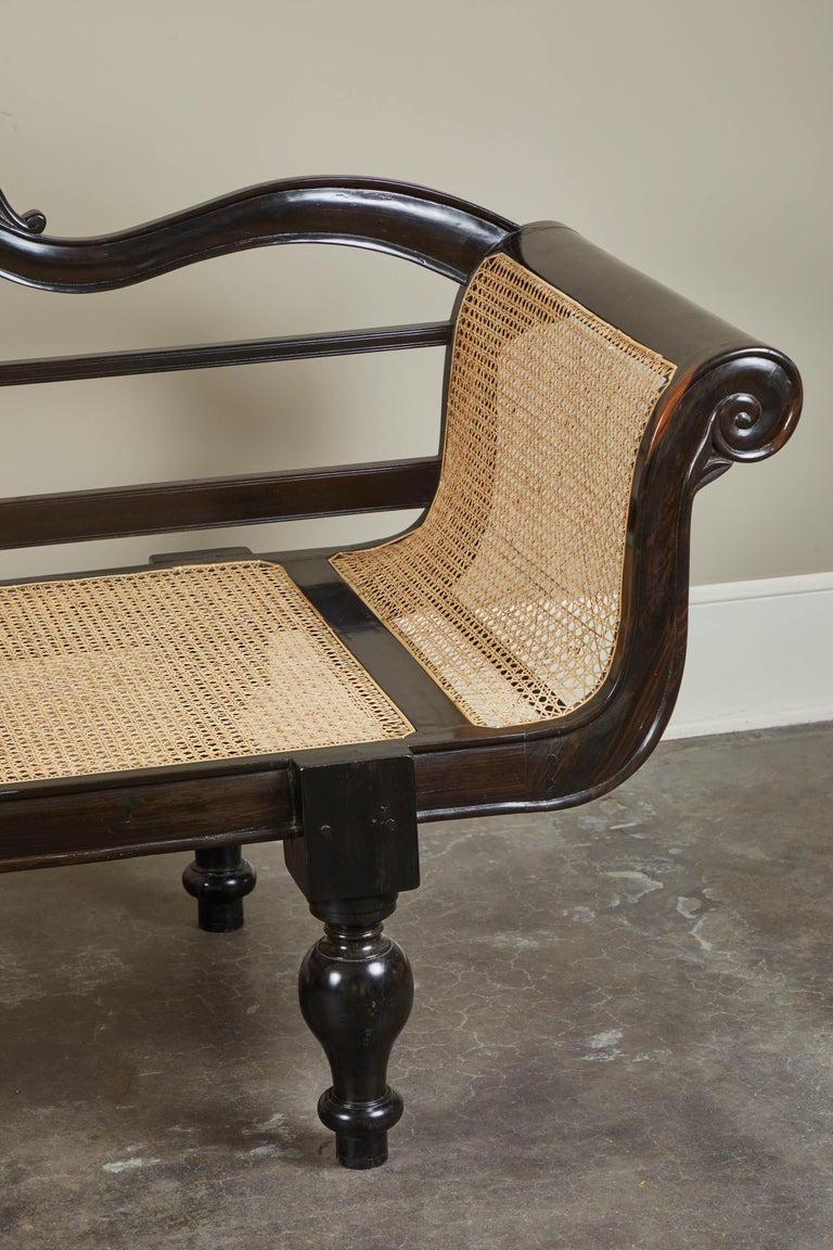 20th Century British Colonial Ebony Bench with Caned Seat and Arms For Sale 5