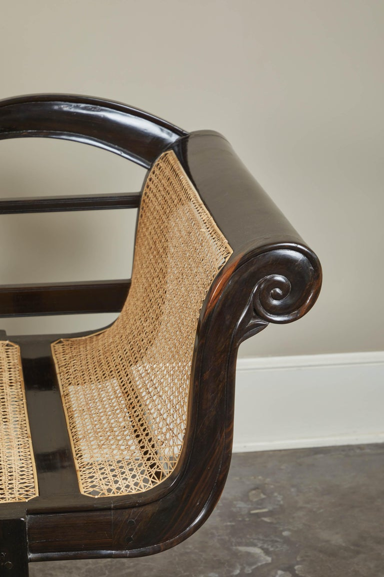 20th Century British Colonial Ebony Bench with Caned Seat and Arms For Sale 6