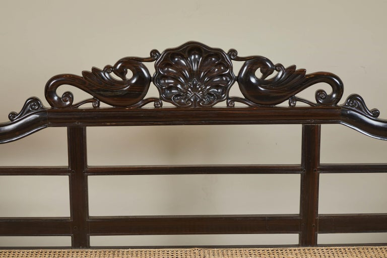 20th Century British Colonial Ebony Bench with Caned Seat and Arms For Sale 7