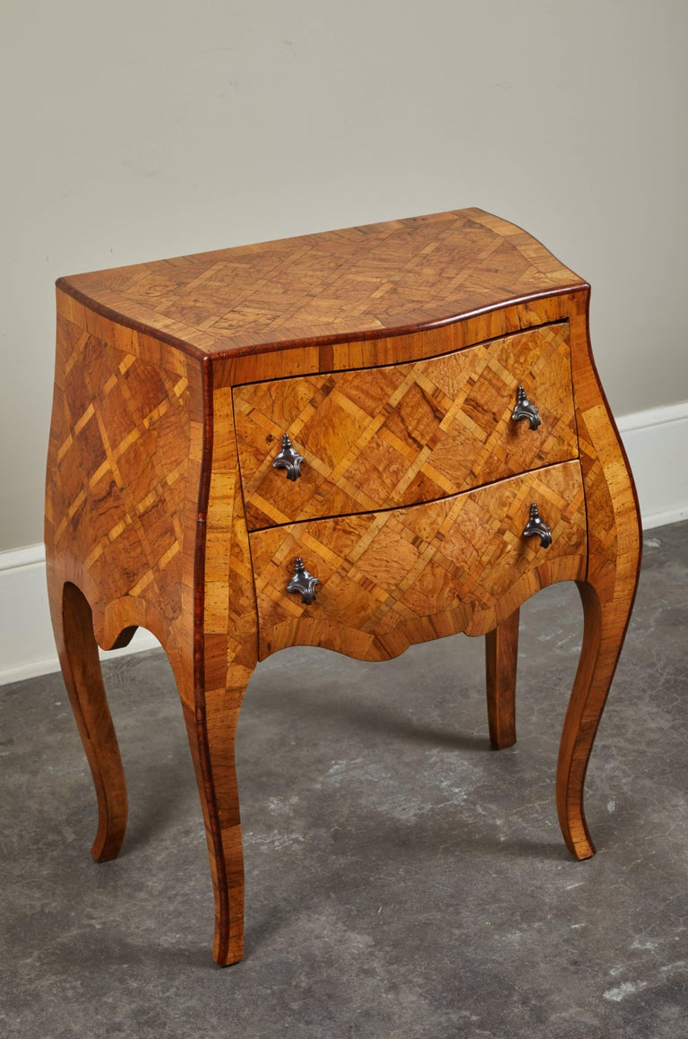 Rococo 20th Century Petite Italian Marquetry Chest of Drawers For Sale