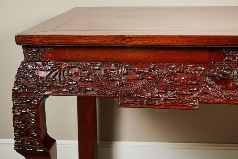 Qing 19th Century Chinese Rosewood Carved Table For Sale
