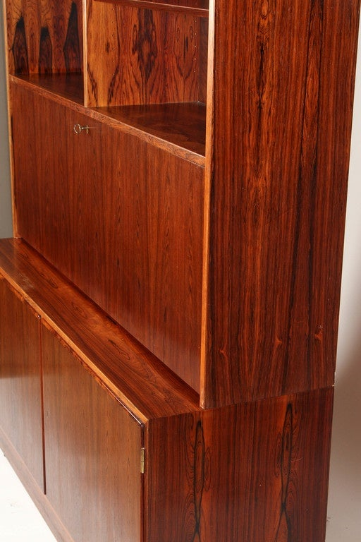 1970s Danish Palisander Rosewood Desk Unit For Sale 4