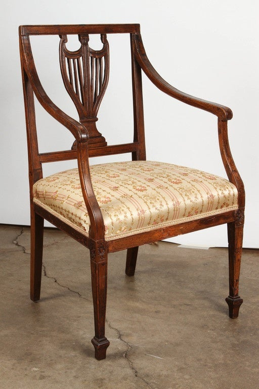 A set of four 18th Century Country Regency Style walnut armchairs hand carved and & Set of Four 18th Century French Chairs For Sale at 1stdibs