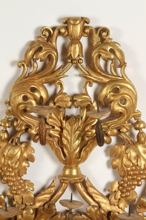 Venetian Wall Sconces : Pair of Gilt Venetian Wall Sconces For Sale at 1stdibs