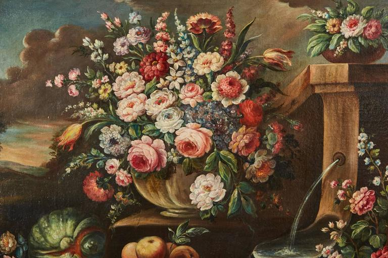Pair of 19th Century Italian School Still Life Large Oil-On-Canvas Painting with For Sale 5