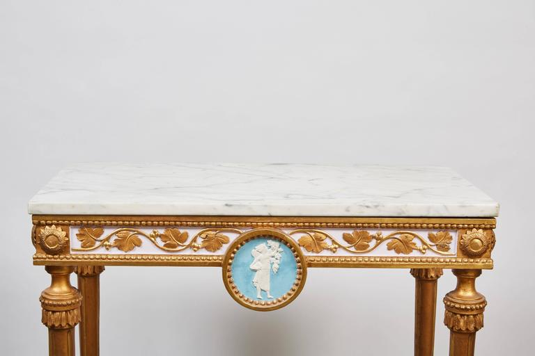 1790's Swedish White Marble and Gilded Console and Mirror  In Good Condition In Pasadena, CA