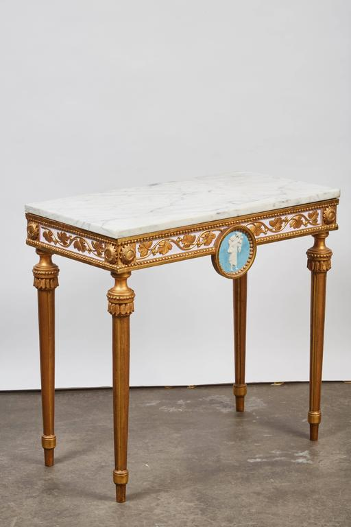 Late 18th Century 1790's Swedish White Marble and Gilded Console and Mirror