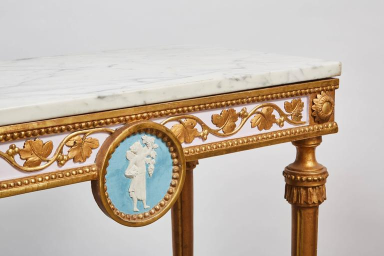 1790's Swedish White Marble and Gilded Console and Mirror  2
