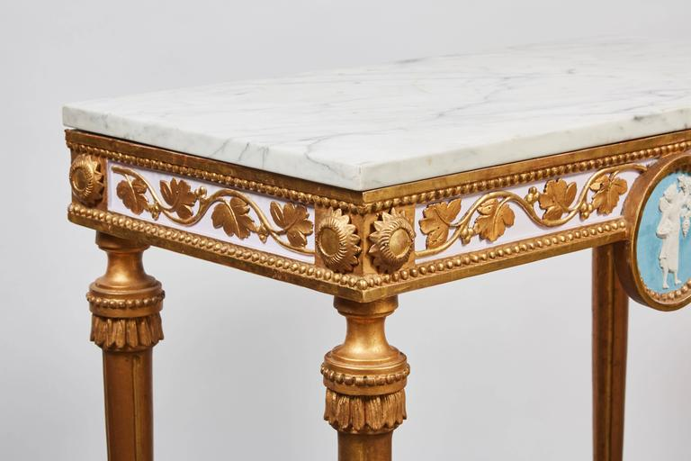 1790's Swedish White Marble and Gilded Console and Mirror  1