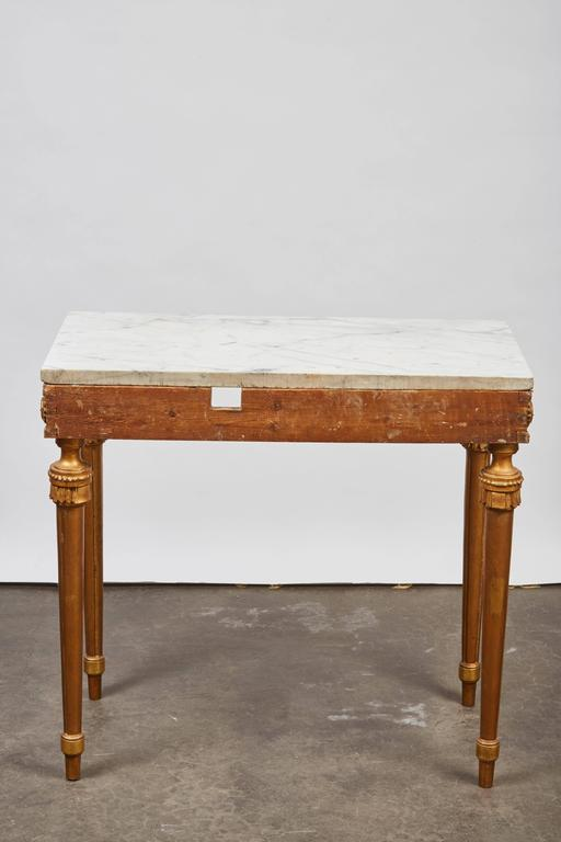 1790's Swedish White Marble and Gilded Console and Mirror  4