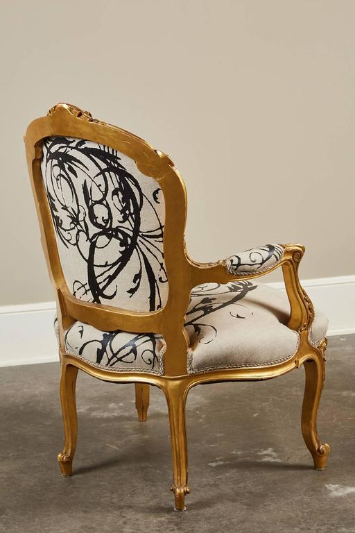 French Louis XV Gilt Wood And Upholstered Arm Chair For Sale