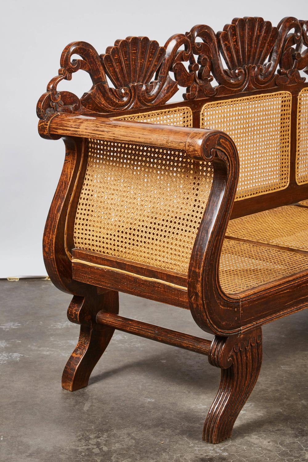 Indonesian Teak Settee with Carved Rattan/Wicker Back and ...