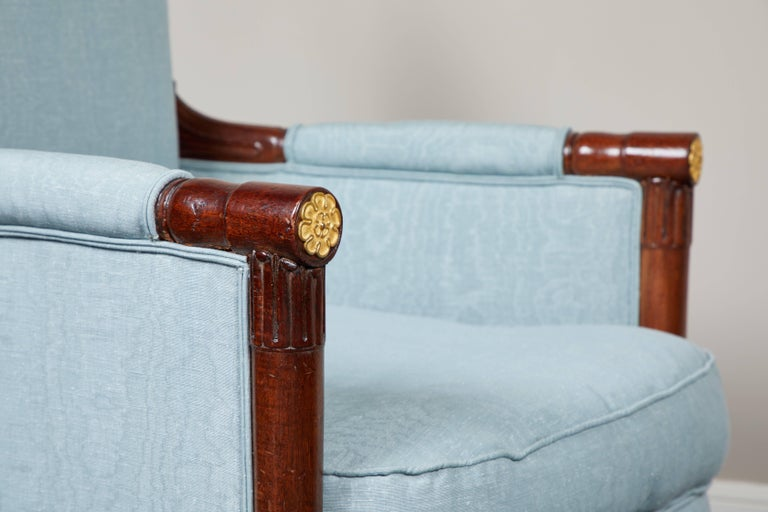 Pair of Early 19th Century Empire Mahogany Bergeres Armchairs In Good Condition For Sale In South Pasadena, CA