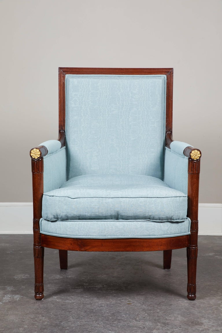 Pair of Early 19th Century Empire Mahogany Bergeres Armchairs For Sale 1