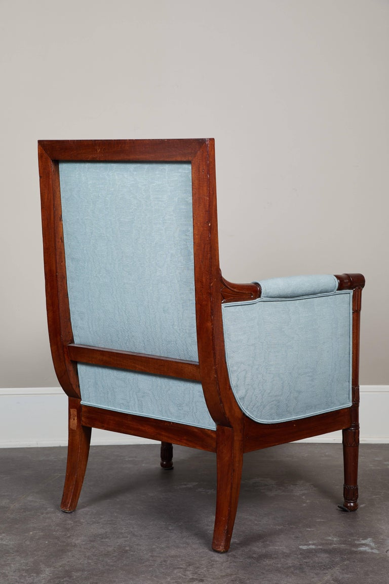 Pair of Early 19th Century Empire Mahogany Bergeres Armchairs For Sale 2