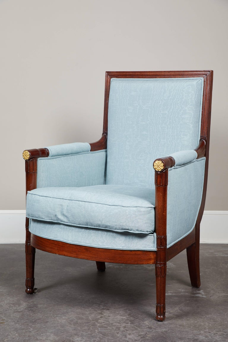 Pair of Early 19th Century Empire Mahogany Bergeres Armchairs For Sale 3