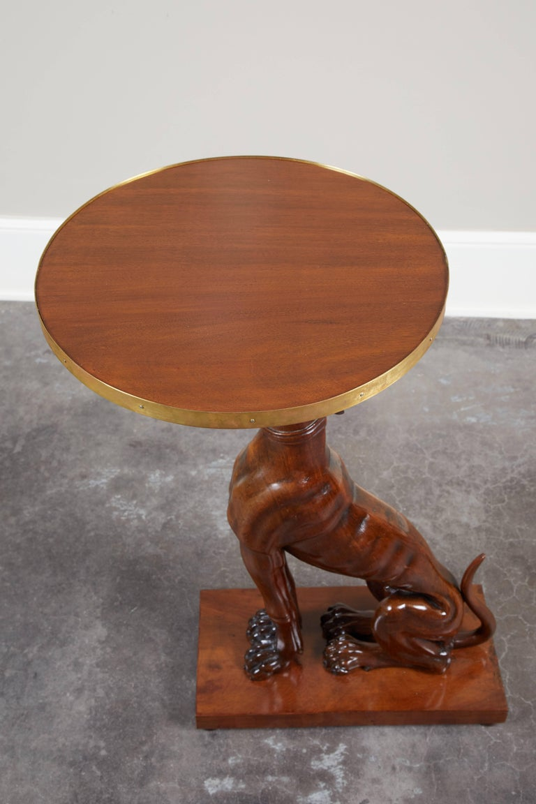 Pair of 19th Century Italian Mahogany Greyhound Dog Side Tables For Sale 2