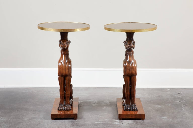 Pair of 19th Century Italian Mahogany Greyhound Dog Side Tables For Sale 3