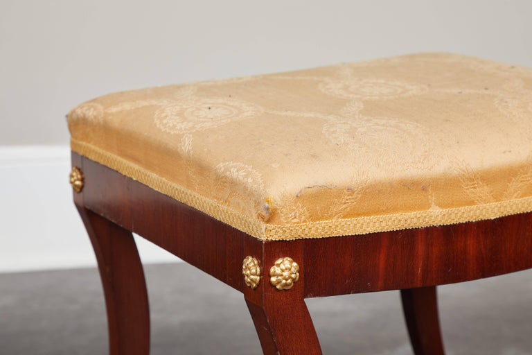 Pair of Early 19th Century Swedish Empire Mahogany Stools In Good Condition For Sale In South Pasadena, CA